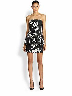 MILLY Strapless Peplum Dress