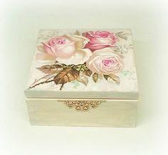 Caja de té decoupage caja de joyería caja de joyería caja