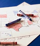 Election Night color the states on a blank map red or blue