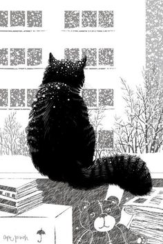 Winter, cat and snow in fine art. Paintings with winter cat. I Love Cats, Crazy Cats, Cute Cats, Adorable Kittens, Illustrations, Illustration Art, Winter Cat, Winter Snow, Black Cat Art