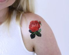SMALL RED ROSE TEMPORARY TATTOO-This listing is one temporary rose tattoo. Tattoorary offers high quality temporary tattoos that will last for two days up to a week. Application directions are included in your package. Makeup Tattoos, Rose Tattoos, Flower Tattoos, Tattoo Floral, Music Tattoos, Rib Tattoos Words, Quote Tattoos Girls, Faith Tattoos, Tattoo Quotes