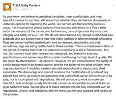 An important word on customized Tula products from TULA BABY CARRIERS * 3 February 2015 * (facebook)