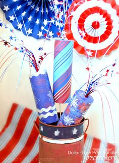 4th of July, pool noodle, craft, patriotic, firecrackers, Dollar Tree