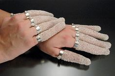 """Finger Nail Protectors  2004  Jill Baker Gower  Fine silver, sterling silver, cubic zirconium  2 3/4"""" to 3 3/4"""" X 1"""" X 1"""""""