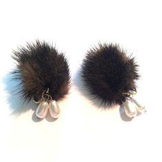 Haute Glam Mink Clip Earrings w/ Faux Pearls circa 1960s - Dorothea's Closet Vintage