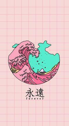 drawing of a tall, tidal wave, aesthetic iphone wallpaper Tumblr Wallpaper, Kawaii Wallpaper, Cool Wallpaper, Wallpaper Backgrounds, Wallpaper Lockscreen, Colorful Wallpaper, Black Wallpaper, Dark Backgrounds, Pinky Wallpaper