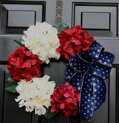 Patriotic wreath - of July- Hydrangea Wreath - Holiday - Summer wreath - Memorial Day Decor - Holiday Decor - Red white and blue Patriotic Wreath, Patriotic Crafts, Patriotic Decorations, July Crafts, 4th Of July Wreath, Wreath Crafts, Diy Wreath, Wreath Ideas, Holiday Wreaths