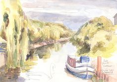 """Berlin Canal, Kottbuserdamm. Watercolor sketch, ORIGINAL pencil + watercolor drawing, 8"""" x 5.75"""" Signed by Catalina S.A."""