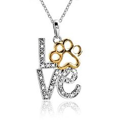 Aspca Tender Voices Sterling Silver 'Love' Paw with Diamond Accent Necklace Pendant Necklace, Onyx Necklace, Letter Necklace, Collar Necklace, Pendant Jewelry, Bff, Silver Diamonds, Sterling Silver Jewelry, Puppies