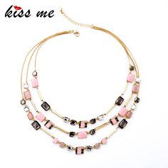Dazzle Color Multilayer Statement Bib Necklace New Turkey Jewelry China Factory Wholesale