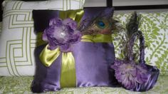 Peacock Pillow :  wedding peacock purple vintage green ceremony diy Pillow