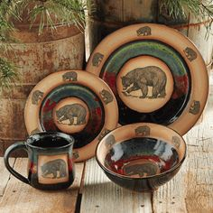 Forest Bear Pottery Dinnerware - 4 pcs We can afford service for 2 ت