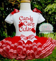 Candy Cane Christmas Tutu Set, Christmas Outfit~ Includes Top/Onesie, Christmas Tutu, Hair Accessory on Etsy, $62.99