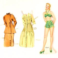 """Vintage Wood Paper Doll """"Sandy"""" with Clothing, made by Whitman (c.1940s)"""