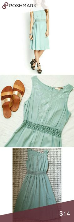 "Forever 21 Seafoam Green Butterfly Dress Gorgeous embroidered butterfly dress! Size small. 37"" length. 22"" waist. 26"" bust. Questions are welcomed. Forever 21 Dresses"