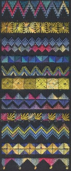 Crazy quilt stitches for needlepoint