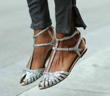 BNWT ZARA flat silver glitter sandals ankle straps sz 38 uk 5 us 7,5