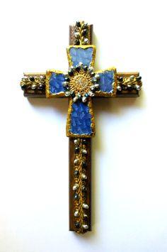 CROSS ooak found object religious art by CrossMyArtByLynnWebb