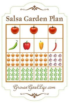 Salsa Garden Plan for Raised Bed or Square Foot Garden | Grow a Good Life #homesteadbloghop #squarefootgardening