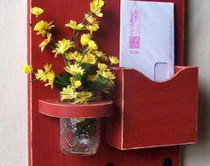 Mail Holder - Key Hooks - Jar Vase - Organizer - Painted Distressed Wood