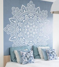 Mandala wall stencils DIY for home of work place decor. Mandala Ibiza wall stencils to pimp your home, garden, office, shop, restaurant or club! We have 8 different mandalas in different sizes from which you can choose! Home Bedroom, Bedroom Decor, Master Bedroom, Modern Bedroom, Bedroom Ideas, Home Design, Interior Design, Design Art, Zen Design
