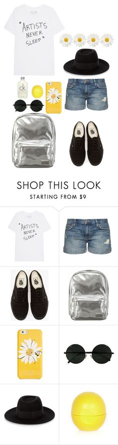 """""""::Untitled #12::"""" by cottoncandyprince ❤ liked on Polyvore featuring Current/Elliott, Vans, Pantone, Kate Spade, Maison Michel, River Island, Calvin Klein, Flowers, vans and aesthetic"""