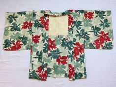 Japanese Vintage Kimono Haori Silk White Green Red Flower P100233 | eBay