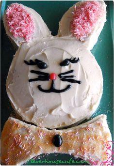 Homemade Banana Bunny Cake  http://cleverhousewife.com/2012/04/homemade-banana-bunny-cake/