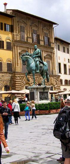 Piazza della Signoria with equestrian statue of Cosimo I de' Medici, Grand Duke of Tuscany,Florence,Italy