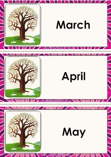 Kids Under Months of the Year flashcards Classroom Labels, Teaching Aids, Months In A Year, My Teacher, Child Development, Crafts For Kids, Language, Place Card Holders, English
