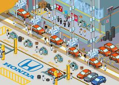 A cool picture of a Honda factory.