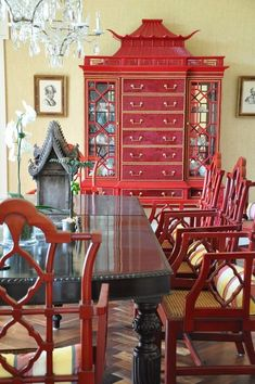 30 Red Dining Room Ideas Will Stimulate Your Appetite Asian Furniture, Oriental Furniture, Painted Furniture, Furniture Design, Oriental Decor, Plywood Furniture, Chair Design, Modern Furniture, Dining Room Design