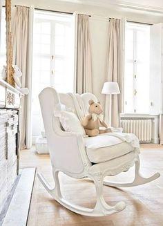 Creamy White baby nursery with romantic shabby chic decor   Shabby ...