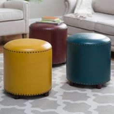 If the sleek shape and on-trend nailhead trim of the Belham Living Hutton Modern Round Nailhead Ottoman aren't appealing enough, consider its. Round Ottoman, Tufted Ottoman, Leather Ottoman, Ottoman Ideas, Storage Ottoman Coffee Table, Storage Benches, Sofa Design, Interior Design Living Room, Recycling