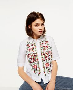 Image 6 of EMBROIDERED POPLIN SHIRT from Zara