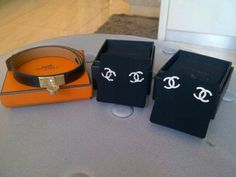 Ready stocks with copy rec Hermes kdt black ghw swift #T size small Chanell earrings cc logo
