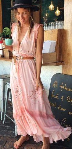 #spellandthegypsycollective #boho #outfits |  Old Pink Sleeveless Maxi Dress