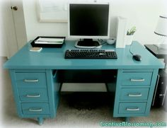 I love these big old tanker desks. Vintage Wood Tanker Desk paint makeover to teal and silver DIY home office silver drawer handles mod Moroccan decor Diy Furniture Projects, Cool Diy Projects, House Projects, Refurbished Furniture, Painted Furniture, Tanker Desk, Tiny Home Office, Family Office, Desk Makeover