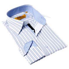 Brio Milano Men's Contemporary Fit / White Button-up Dress Shirt