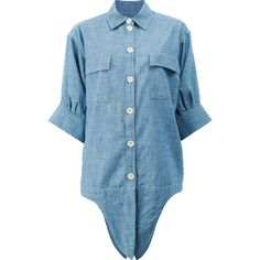 Shop Chloé Denim Tie Front Shirt at Modalist | M0024000231309 ($850) ❤ liked on Polyvore featuring tops, denim top, blue denim shirt, shirt top, blue shirt and denim shirts