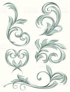flora scroll design royalty-free stock vector art
