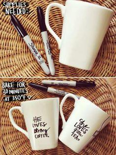 DIY Gift Ideas From Pinterest designer mugs