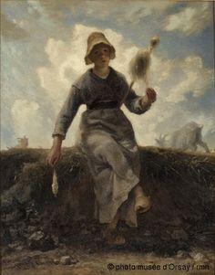 La fileuse, chevrière auvergnate, entre 1868 et 1869, huile sur toile, H. 0.925 ; L. 0.735, musée d'Orsay, Paris, France ©photo musée d'Orsay / rmn