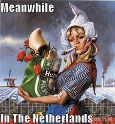 This is also typical stereotype girl of the Netherlands. On the picture their are some really typical dutch objects like the Dutch beer Heineken, traditional clothes, tulips, windmill, fabrics and weed. Best Funny Pictures, Cool Pictures, Gravure Illustration, Pin Up, Mona Lisa Parody, Dutch People, Going Dutch, Monalisa, People Like