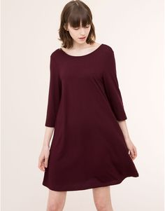 :PLAIN A-LINE CREPE DRESS WITH 3/4 LENGTH SLEEVES