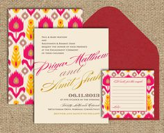 Indian Ikat Wedding Invitation - love the pink and yellow flowers!