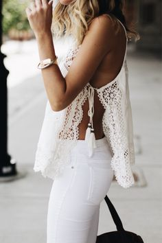 White Crochet Tie-Tank Top