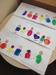 "preschool Bible art Modified pinterest idea ""Jesus Loves the Little Children"" Matthew 19:14  one of our fine arts project (sponge shapes for the bodies, Martha Stewart dot sponges  for heads & felt tip markers for details)"