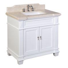 Elizabeth 36-inch Vanity (Crema Marfil/White)