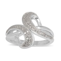 ELANZA AAA Simulated White Diamond (Rnd) Ring in Rhodium Plated Solid Sterling Silver 925 Less than Half Price, 60% Off Now £7.99 Sizes UK M-V